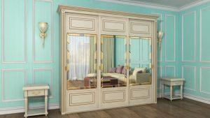 Шкаф купе с фрезеровкой и зеркальным панно Азов