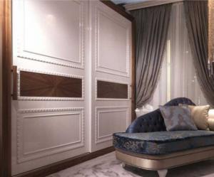 Шкаф купе с эмитацией филенки и фигурной накладкой, ламинация, шпон, эмаль Азов